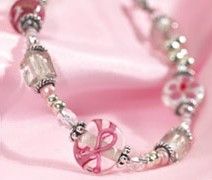 Our uniquely designed breast cancer bracelet features a special pink ribbon glass bead and sterling silver and is accompanied by two other hand blown beads. This beautiful piece is finished with a clear crystal symbolizing hope.